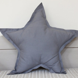 ColetteBream - Star shaped Pillow or cushion - french grey, soft cotton