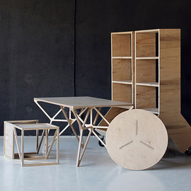 dontDIY - Plywood Furniture Collection 2012,  work desk / coffee table / side table / movable container