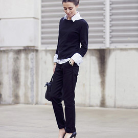 outfit - black style+white shirt