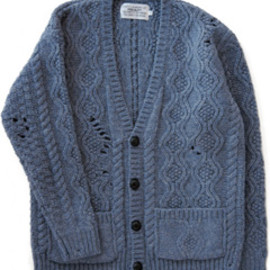 PEEL&LIFT - Aran Knit Cardigan (blue grey)