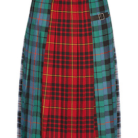 GUCCI - Pleated tartan wool midi skirt