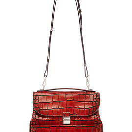 PROENZA SCHOULER - FW2015 Bi-Color Embossed Croc Kent Bag In Mahogany