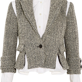 sacai - FW2015 Herringbone wool-blend tweed jacket
