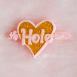"Hole - 1990's ""Hole:Courtney Love"" GLITTER HEART BARRETTE:PINK【DEAD-STOCK♡】"
