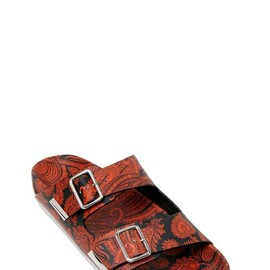 GIVENCHY - PAISLEY PRINTED LEATHER SLIDE SANDALS