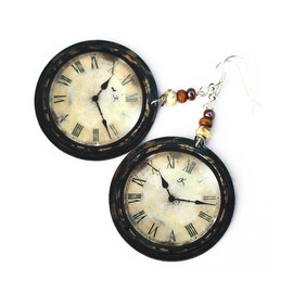 Luulla - Rustic Clock - decoupage earrings - earth tones - double faced