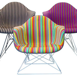 Stripe Eames chair upholstered by Girard fabric.
