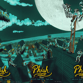 James Flames - Official Phish Posters from Fall Tour 2013 @ Hampton Coliseum, Hampton, VA 3 posters
