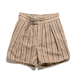 NEAT - Cotton Linen Alternate Stripe-Gurkha Shorts-Beige