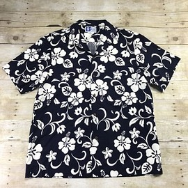 VINTAGE - Vintage RJC Navy Blue Hawaiian Shirt White Hibiscus Print Made in USA Mens Large