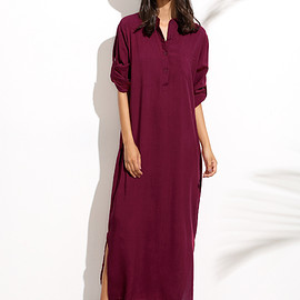 Romwe - Burgandy Split Side Shirt Dress