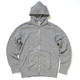 LOOPWHEELER - Cotton with cashmere zip hoodie