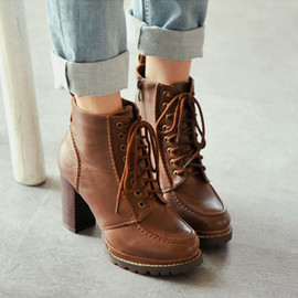 British Style Retro Pure Color Lace-up High-heeled Booties