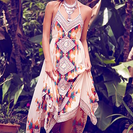 Free People - Free People Ibiza Embellished Halter Maxi Dress