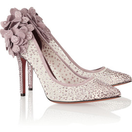 BRUNO MAGLI - Gelmer Swarovski crystal-embellished mesh and suede pumps