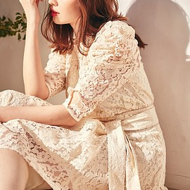 Her lip to - Belted Asymmetric Lace Dress