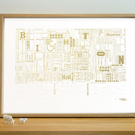 unlimited editions - Brighton Fontmap - gold on white