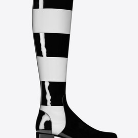 SAINT LAURENT - FW2014 BABIES 40 BOOT IN BLACK AND OPTIC WHITE STRIPED PATENT LEATHER