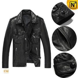 CWMALLS - Button Up Italian Leather Jacket for Men CW850105