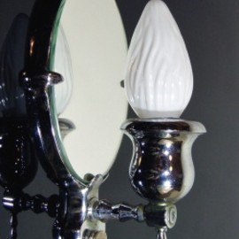 """1930's """"Nickle Plated Cast Brass"""" Candle Lamp【Art Deco】"""