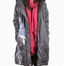 padded hooded coat - Loose dark gray padded hooded coat Cotton printing winter asymmetric coat