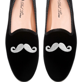DEL TORO - Prince Albert Black Velvet Slipper Loafers With Mustache Embroidery