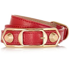 Balenciaga - Holiday Collection Triple Tour textured-leather and gold-tone bracelet