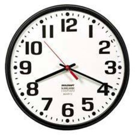 Skilcraft - Slimline Wall Clock Bronze Case, White Face, 8 In Diameter