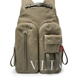 VALENTINO - SS2018 VLTN Leather-Trimmed Canvas Backpack
