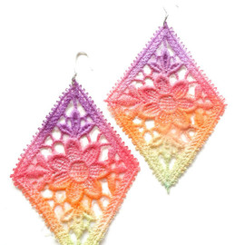 Lace Earrings Neon Flower Hand Painted - Purple Red Orange Green Ombre - Customizable Colors