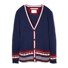 White Mountaineering - WM1371604ABSTRACT PATTERN JACQUARD KNIT CARDIGAN