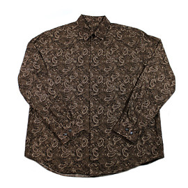 VINTAGE - Vintage 90s Brown Paisley Button Up Shirt Mens Size Large