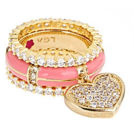 Lauren G. Adams - Pink Pave Heart Stackable Ring
