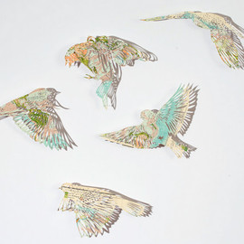 Claire Brewster - Beautiful paper cut birds out of old maps