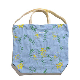 ENGINEERED GARMENTS - Carry All Tote-Denim Floral Embroidery-Lt.Blue