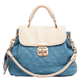 Contrast Color Braided Strap Quilted Shoulder Bag Carryall