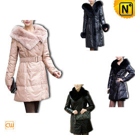 CWMALLS - Leather Long Down Coat CW148340 - cwmalls.com