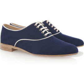 Christian Louboutin - Fred grosgrain-trimmed canvas brogues