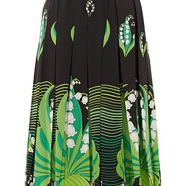 VALENTINO - Lily of the Valley-print pleated silk skirt