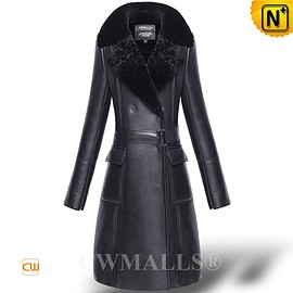 CWMALLS - CWMALLS® Black Shearling Trench Coat CW652113