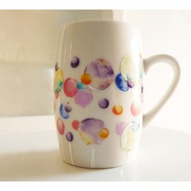 Luulla - Bubble coffee cup, upcycled handpainted mug.