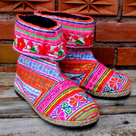 Cuffed Womens Ankle Boots Bright Funky  Mixed Hmong Embroidery