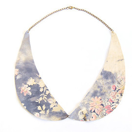 Floral Leather Peter Pan Collar Necklace