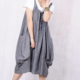linen dress - Leap of the heart/ Lovely dark gray linen dress
