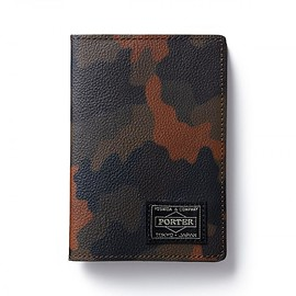 "HEAD PORTER - ""OTUN"" PASSPORT CASE DARK GREEN"