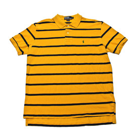 POLO RALPH LAUREN - Vintage Polo by Ralph Lauren Gold/Navy Striped Polo Shirt Mens Size Large (Slim Fit)
