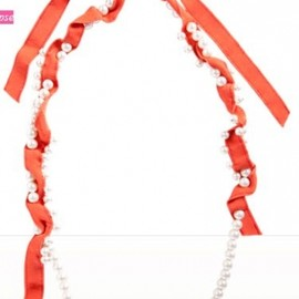 Lanvin - Pearl & Grosgrain Ribbon Long Ellipse Necklace