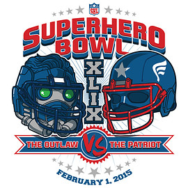 TeeFury - SUPERHERO BOWL: THE OUTLAW VS THE PATRIOT - Chris VS Chris Tee