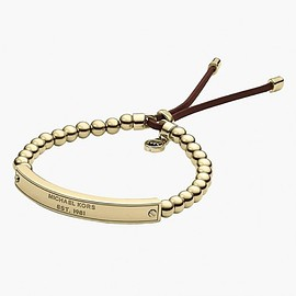MICHAEL KORS - Cheap Michael Kors Gold-Tone Logo Plaque Bead Adjustable Bracelet