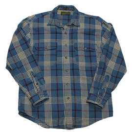 Eddie Bauer - Vintage Eddie Bauer Blue Plaid Houndstooth Button Up Shrit Mens Size Medium